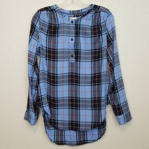 Canyon River Blues Plaid Long Sleeve Button Up Top